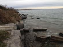 Port Darlington, Lake Ontario - Armour stone retaining wall